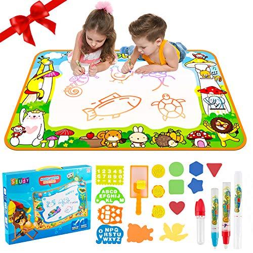 TLLAYGM Tappeto Magico Bambini Acqua Tappetino Scarabocchio Disegno Deluxe Dimensioni 100 * 70cm ragazzi e ragazze Doodle Mat Educativo & regali di compleanno per 3 4 5 6 7 8 anni