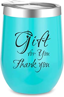 Birthday Gifts for Women | Thank You Wine Tumbler | 12 oz Insulated Wine Tumbler with Lid, Double Wall Vacuum Stainless Steel Stemless Wine Glass Tumbler Coffee Mug, for Cocktail, Beer Champagne
