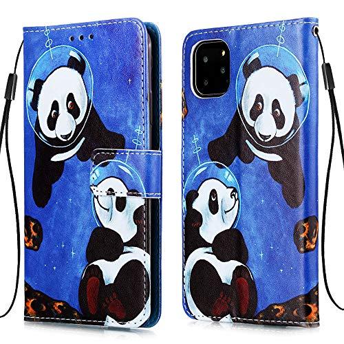 """Nadoli Leder Hülle für iPhone 12 Pro Max 6.7"""",Bunt Sei Panda Malerei Ultra Dünne Magnetverschluss Standfunktion Handyhülle Tasche Brieftasche Etui Schutzhülle"""