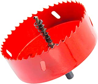 Bi-Metal Hole Saw Drill Bit HSS Hole Cutter with Arbor for Wood and Metal 4-5/7''(120mm)