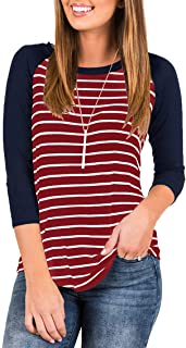 Women's 3/4 Sleeve Raglan Striped T Shirt Baseball Tunic Tops Blouse