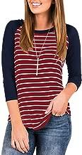 INFITTY Women's 3/4 Sleeve Raglan Striped T Shirt Baseball Tunic Tops Blouse
