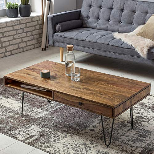 Couchtisch Lira II Sheesham Massivholz Edelstahlgestell schwarz braun 120 x 40 x 60 cm Tisch Wohnzimmercouchtisch Beistelltisch Anstelltisch