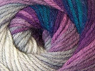 (1) 100 Gram Magic Light Purples, Blues, Grey, White Self-Striping DK Yarn