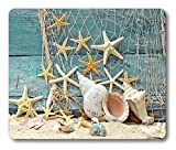 Smooffly Seashell Conch Starfish Mouse Pad Fishing Nets Beach Ocean Non-Slip Rubber Mouse pad Gaming Mouse Pad