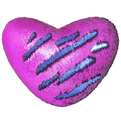 Play Tailor Mermaid Throw Pillow with Insert Reversible Sequins Pillow Heart Shape Decorative Cushion(13' x 15',Blue+Purple)