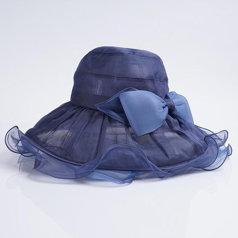 SUNNY Summer Women's Hat Silk Visor Elegant Great Edge Sun Hat Travel Beach Hat (color   Navy)