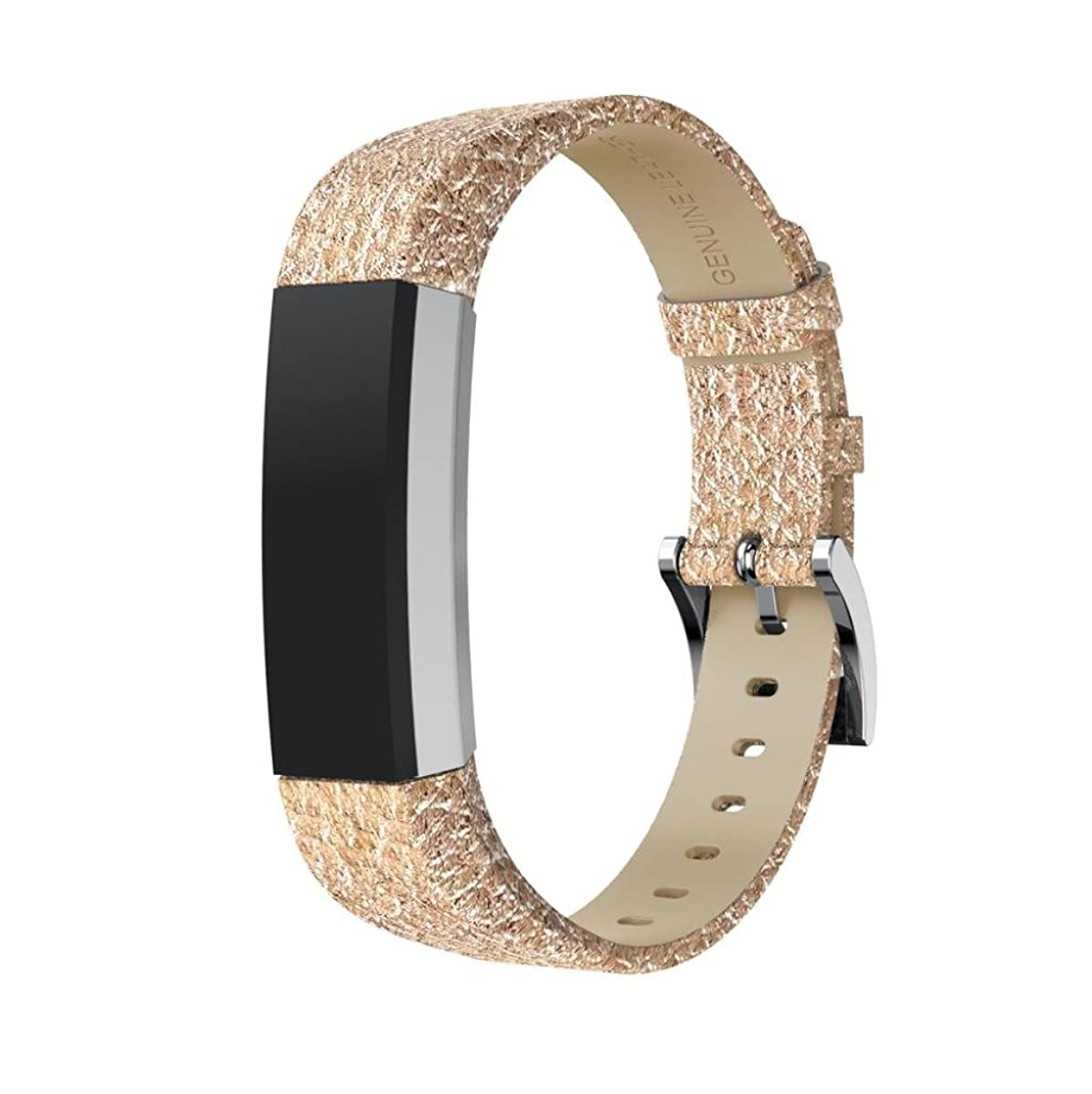 For Fitbit Alta HR Bands and Fitbit Alta Band, Gotd Luxury Leather Strap Sport Replacement Watch Band Accessories Wristband With Metal Connectors, Large Small for Women Men, 5.5