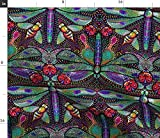 Spoonflower Fabric - Dragonfly Dotted Damask Dragonflies Moths Bees Art Nouveau Pointillism Printed on Fleece Fabric by The Yard - Sewing Blankets Loungewear and No-Sew Projects