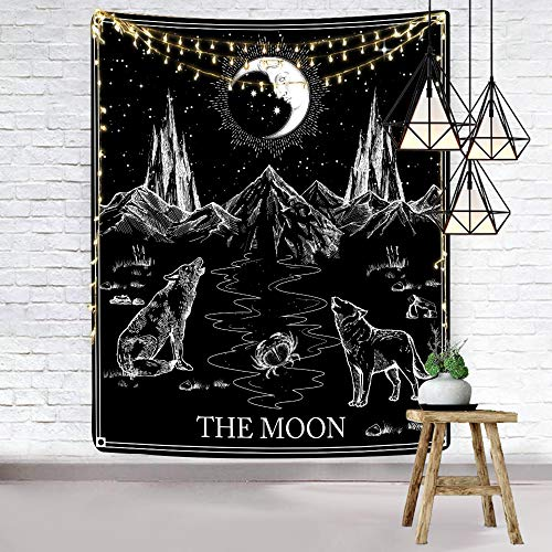 Hexagram Aesthetic Tarot Tapestry Black and White Tapestry Wall Hanging Gothic Wolf and Moon Wall Tapestry for Bedroom Living Room Dorm Room Home Decor, 51 X 59 Inches
