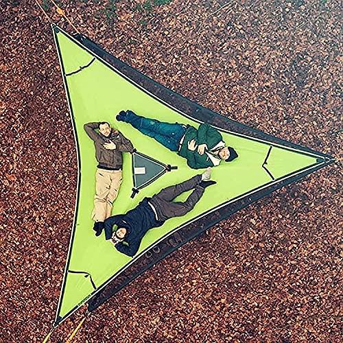 Hamaca para Varias Personas, esteras de Aire Triangulares, Hamaca, casa en el árbol, Aire, Cielo, Tienda, revolucionaria, Gigante, Hamaca para Acampar aérea (Verde 4M)