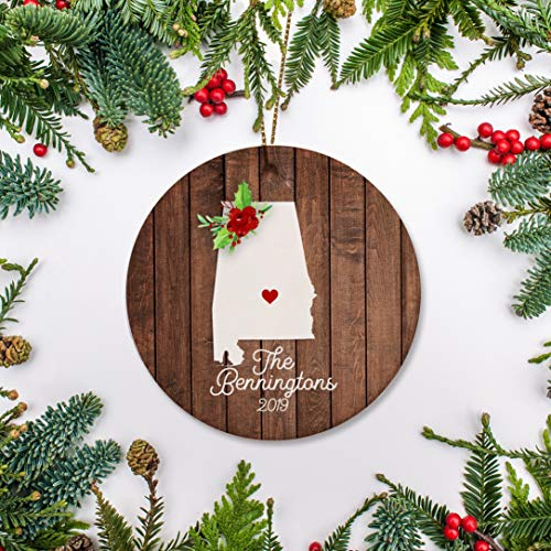 Lplpol Alabama Christmas Ornament New House Ua Graduate First Year at College Just Moved Just Married Ornament Personalized 2018
