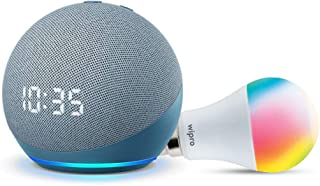 Echo Dot (4th Gen, Blue) with clock Combo with Wipro 9W LED Smart Color Bulb