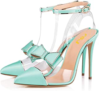 FSJ Women Clear T Strap Pointed Toe Stiletto High Heels Dress Pumps Sandals with Rhinestones Studded Bows Size 4-15 US