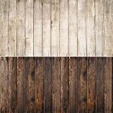 2-en 1 Fondo de madera Textura de madera Telón de fondo de foto Papel impermeable para alimentos, joyas, cosméticos, productos pequeños Disparos 15.7x34.6 pulgadas DP-213