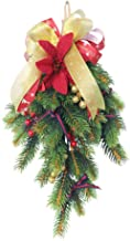 1pc Christmas Wreath Pine Branch Pendant Hanging for Decoration Green for Christmas Party