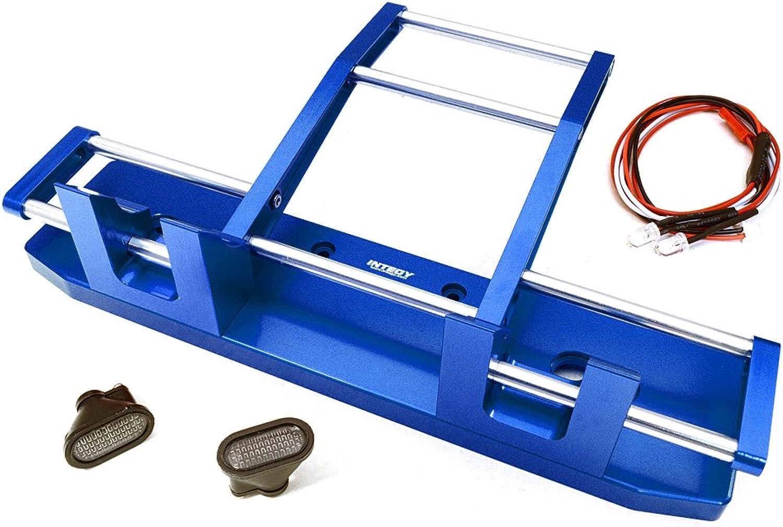 Integy RC Model Hop-ups C27117blueE CNC Alloy Front Bumper w  LED for Tamiya 1 14 King Hauler & Globe Liner