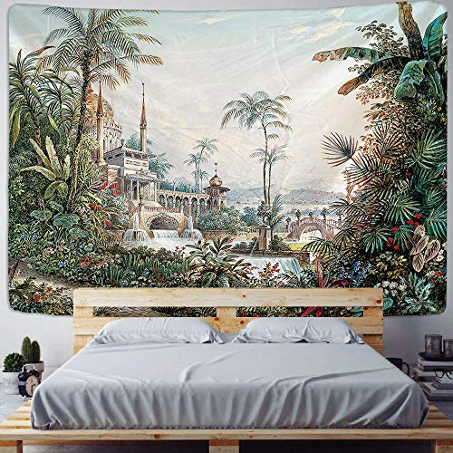 Palm Tree Tapestry Wall Hanging Tropical Leaves Flowers Pattern Beach Wall Tapestry Animal Backdrop Wall Cloth Carpet Tapestries 150x200cm