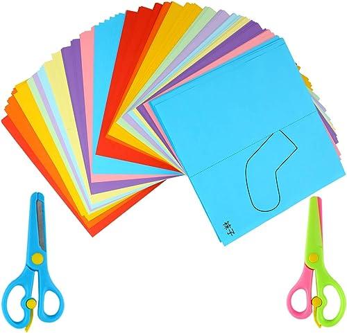 high quality Larcele Kids Fun Paper Cut Set, Handmade Paper Art Toys, DIY Students Scissors Crafts Gift Kit, 240 lowest Pages with 2 outlet online sale Safe Scissors ETJZ-01 online