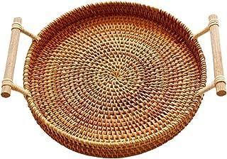 WZHZJ Binaural Rattan Basket, Handmade Old Rattan Woven Round Bread Basket Decorative Tray, Picnic Storage Basket