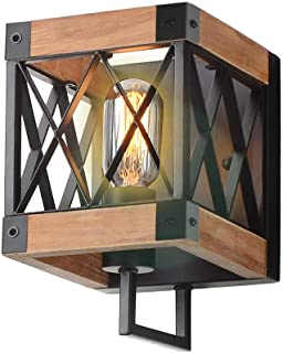 Eumyviv 1-Light Rustic Wood Wall Lamp with Mesh Cage Industrial Wall Sconce, Retro Bathroom Lamp Log Cabin Home Vintage Edison Sconce Light Fixture, Brown Wood and Black Metal(W0057)