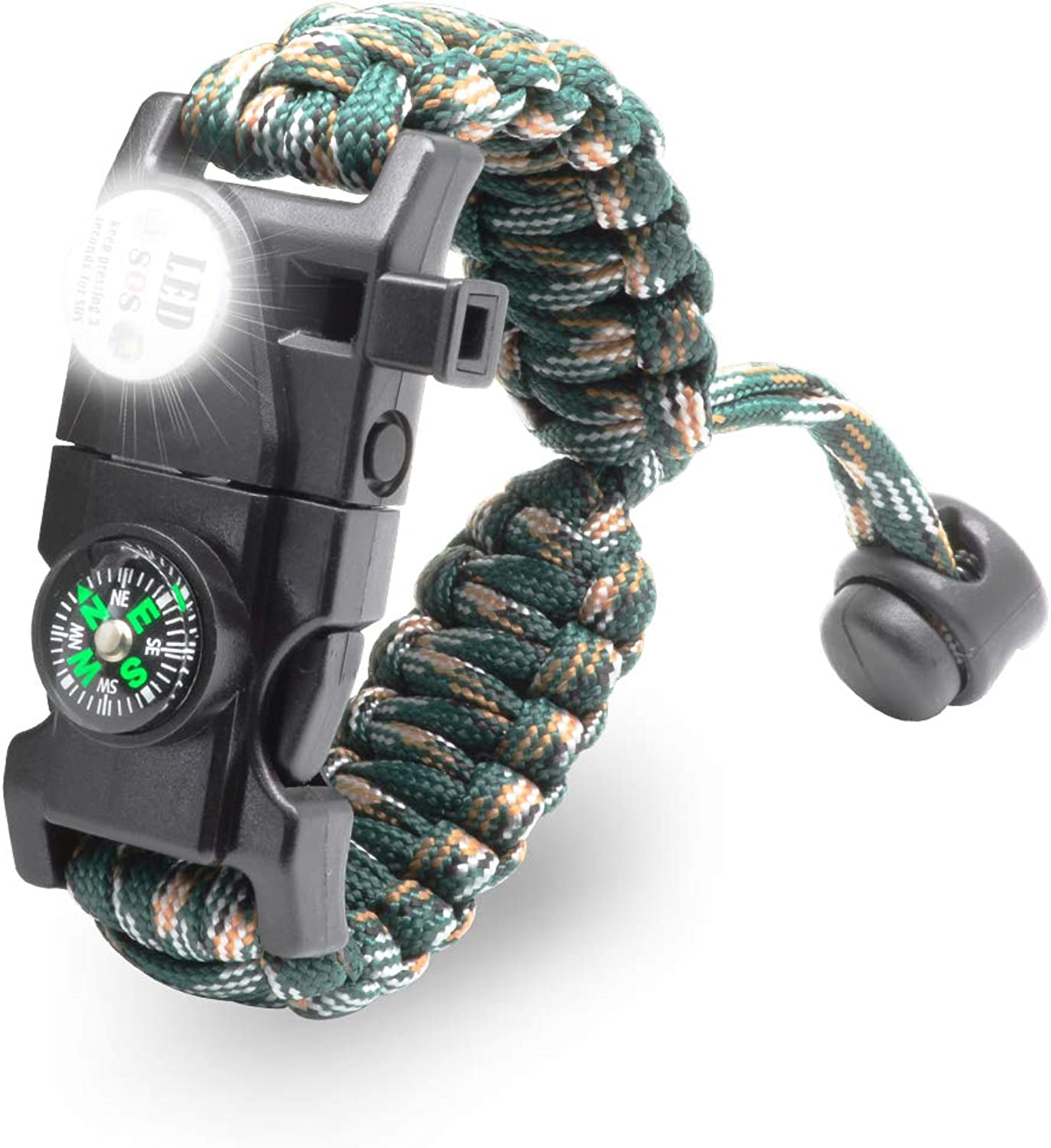 LeMotech 20 in 1 Adjustable Paracord Survival Bracelet, Tactical Emergency Gear Kit Includes SOS LED Flashlight, Compass, Rescue Whistle and Fire StarterOutdoor Hiking Camping