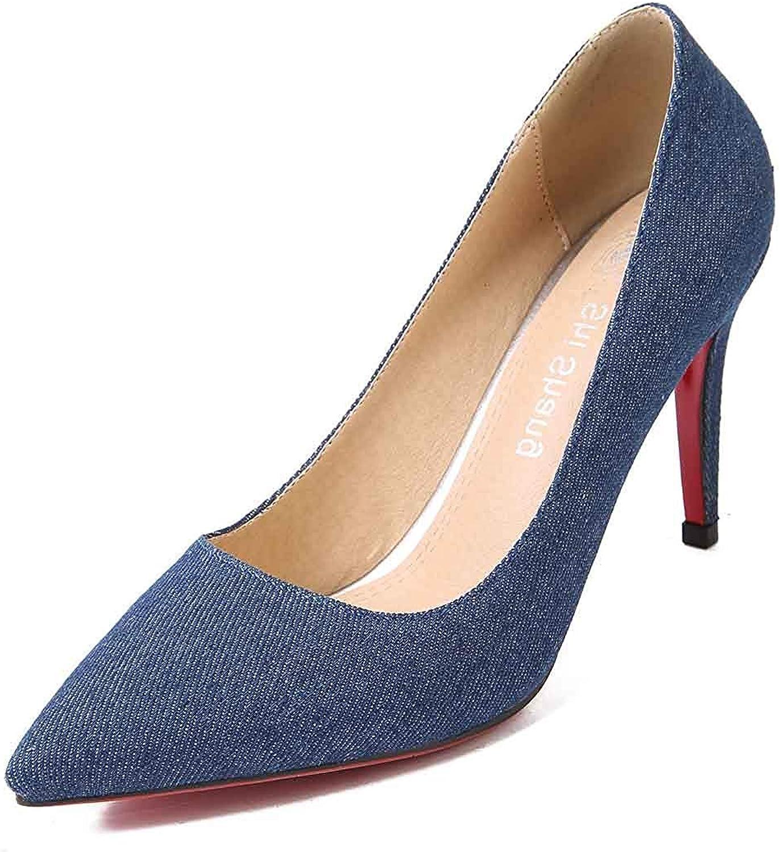 Women's Trendy Pumps shoes - Sexy High Stiletto Heels - Denim Pointed Toe Low Cut Slip On