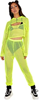 Women's Two Piece Mesh Fishnet Sets - See Through Tights & Crop Tops