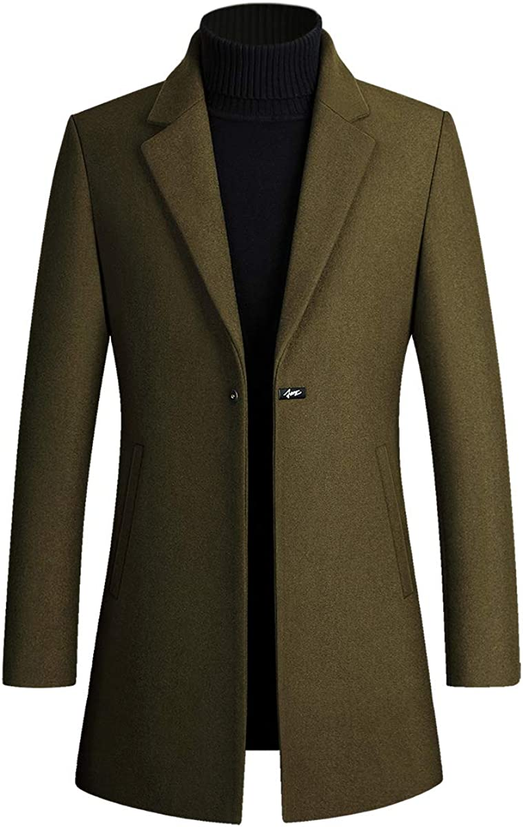 Men's Casual Notch Lapel Single Manufacturer direct delivery Breasted Tre price Wool Mid Long Blend