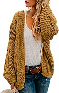 Womens Oversized Chunky Open Front Cardigan Sweaters Cable Knit Long Sleeve Boyfriend Cardigans Outwear Coats