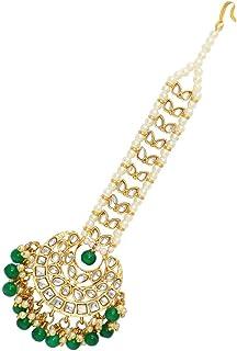 Jaipur Mart Preyans Women's Kundan Golden Plated Maang Tikka (Green) (MTK225GRN)