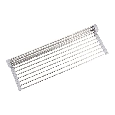 Roll-Up Dish Drying Rack over Sink (Gray Silicone Coated, 20.5 L x 13.12 W)