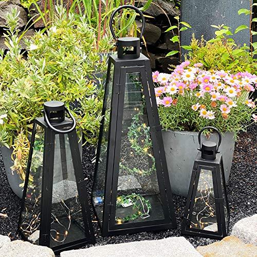 Mojawo 3er Set Gartenlaternen Pyramiden Set Windlicht Laterne Glas schwarz 27/40 / 55 cm inkl. LED Lichterketten