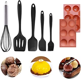 WFH Upgraded Silicone Kitchen Utensils Set with Semi Sphere Silicone Mold for Baking Chocolate Spatulas Set Non-Stick Heat...