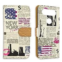 FFANY LG isai Beat (LGV34) 用 スマホケース 手帳型 ミラータイプ 自由の女神・ニューヨーク 新聞デザイン 包装紙 ラッピング風 エルジー イサイ ビート au スタンド スマホカバー 携帯カバー newspaper aao_210133m