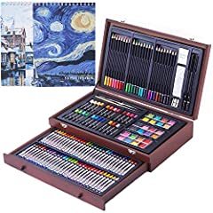 √ BEGINNER TO PROFESSIONALS: With this 145 Pieces Deluxe Art Creativity set you can begin drawing and painting as soon as you open the box. Comes complete with all the necessary tools for a beginning artist all the way to a veteran.Perfect art set fo...