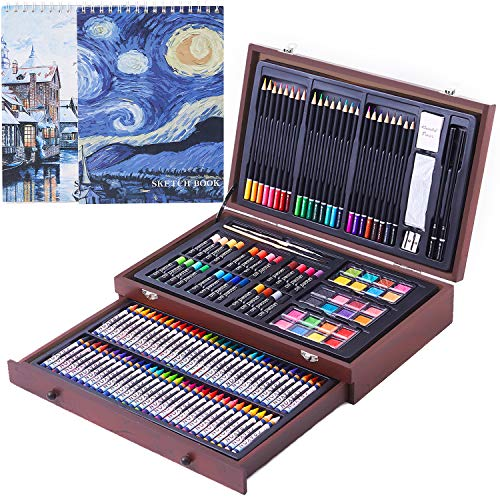 145 Piece Deluxe Art Creativity Set with 2 x 50 Page Drawing Pad, Art Supplies in Portable Wooden Case- Crayons, Oil Pastels, Colored Pencils, Watercolor Cakes, Sharpener, Sandpaper - Deluxe Art Set