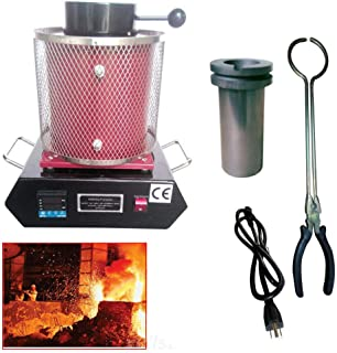 BoTaiDaHong 2KG Electric Melting Furnace Jewlery Gold Silver Smelter Melter Melt Scrap 1600W 110V 2102 F Degrees PID Control Heating Control System Digital Automatic Melting Furnace (Red)