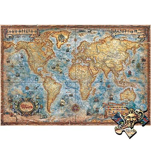 Puzzel Voor Volwassenen, 1000/1500/2000/4000 Stukjes, Retro Wereldkaart, Houten Puzzel, Kinderen Leren Cognitief Speelgoed, Hersenkraker Voor Volwassenen -P4.17 (Size : 1500 pieces)