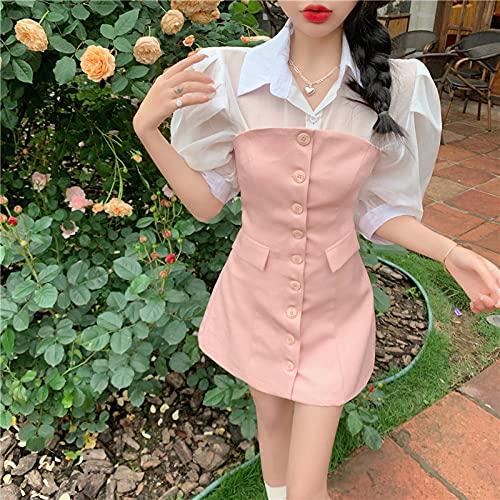 Vestido de Traje oceánico Camisa de Manga de Burbuja de Color Femenino Top de Tubo Traje Delgado y Delgado Falda-Falda Negra_L