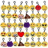 Tomkity 40pcs Emoji Llavero Mini Juguete de Peluche Emoticonos Llavero Emoción para Niños Fiesta Cumpleaños Favores