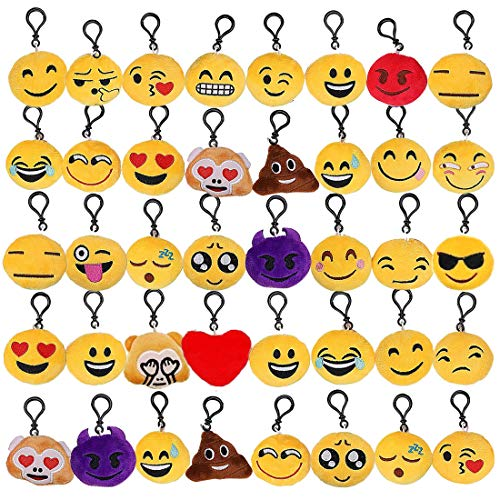 Tomkity 40 Piccoli Portachiavi Emoticon con 24 Fogli Emoji Adesivo Regalo Natale Pensierino Compleanno Bomboniera Festa Bambini Adulti