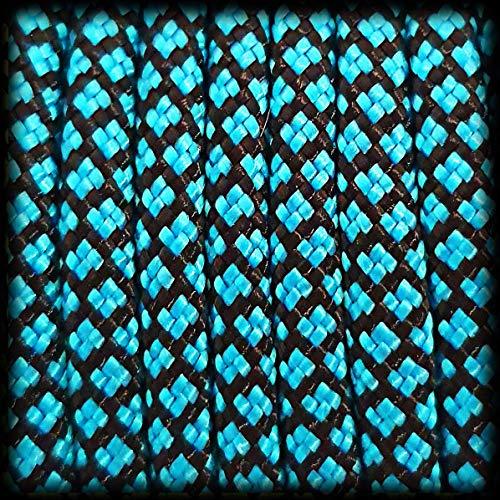 Paracord 550 Seil Diamond für Armband, Leine, Halsband, 100% Nylon-Seil 30 Meter, Farbe: türkis-schwarz