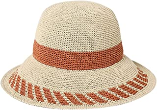 Hats Stripes Print Straw Hat for Ladies Trip Collapsible Sun Hat Cool Women's Beach Hat Fashion (Color : Orange, Size : M)