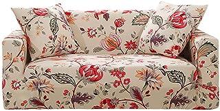 comprar comparacion Prosperveil - Fundas de sofá Estampadas de poliéster elástico y Elastano, Fundas para sofá y Muebles, Beige Floral, 3 Seater