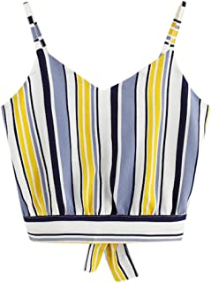 bde98a76f3d iQKA Women s Casual V Neck Camis Bow-Tie Crop Tank Tops Summer Chic Loose  Vest