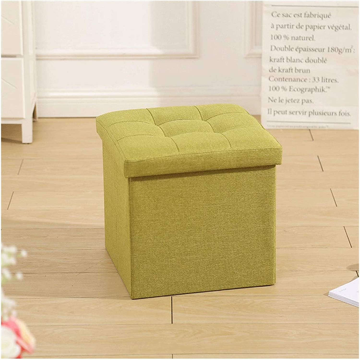 Cotton and Linen Storage Stool Multi-Function Storage Storage Stool Sofa Stool Folding Cotton Fabric Toy Storage Stool shoes Bench 38  38  38cm (color   Green, Size   38  38  38CM)