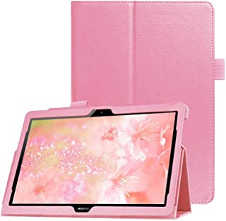 FANSONG Huawei MediaPad T5 10 Tablet Case, Bifold Series Litchi Stria Ultra Thin Magnetic PU Leather Smart Cover [Flip Sta...