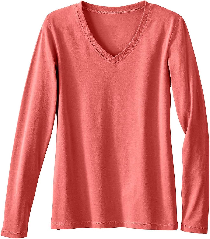 Fair Indigo Women's Organic High quality Cotton T-Shirt Long Sleeve Max 72% OFF V-Neck