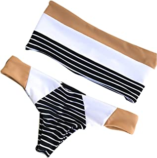 believelf Women Tube Bandeau Swimsuit Stripe Strapless Padded Push Up Bikini Set Bathing Suit
